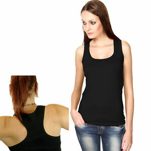 Womens-Black-Tank-Top-Ribbed-Racer-Back-One-Size-Stretchy-Yoga-A-Shirt-New