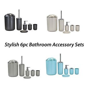 Elegance-6pc-Bathroom-Accessory-Set-Tumbler-Toilet-Brush-Lotion-Soap-Tray-Bin