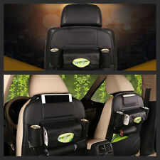 Black Car Seat Back Bag Organizer Storage iPad Phone Holder Multi-Pocket Leather