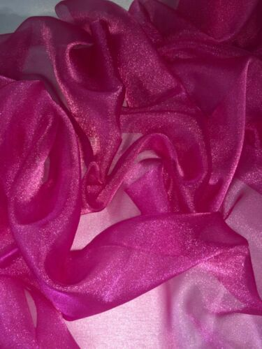 1 MTR Hot Pink Sparkling Crystal Organza Fabric Sheer Voile Wedding 114cm Wide