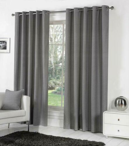 Fusion SORBONNE Ready Made EYELET Ring Top LINED Cotton Curtains *NEW COLOURS*