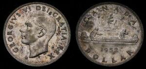 Canada-1952-Dollar-NWL-No-Water-Lines-Scratches-EF-AU-King-George-VI