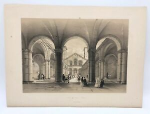 Basilica-Sant-Ambrogio-1843-G-Moore-Lithograph-Architecture-of-Italy-Milan