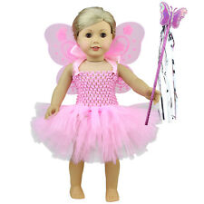 Pink Fairy Doll Dress Angel Wing Magic Wand Outfit Clothes For 18 inch Girl Doll