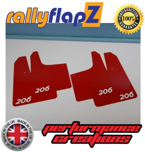 4mm PVC Qty4 Red Logo White Rally style Mudflaps PEUGEOT 206 GTi Mud Flaps