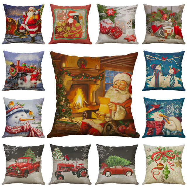 Christmas Pillow Case Santa Cotton Linen Sofa Throw Cushion Cover Home Decor For Sale Online Ebay