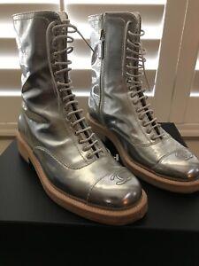 62d64dce085 Chanel Silver Transparent Wms Combat Boot size 38.5 - Pre-Owned Mint ...