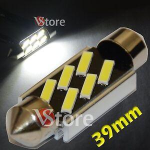 2-LED-Siluro-39mm-6-SMD-7020-No-Errore-Lampade-Luci-BIANCO-Interno-Targa-Xenon