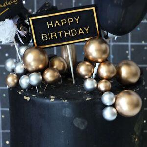 20 Stk Schöne Silber Gold Ball Cake Topper Geburtstag Hochzeit Party Kuchen Deko