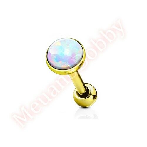 16G Synthetic Opal Cartilage Tragus Bar Ear Ring Piercing Stud Body Jewellery