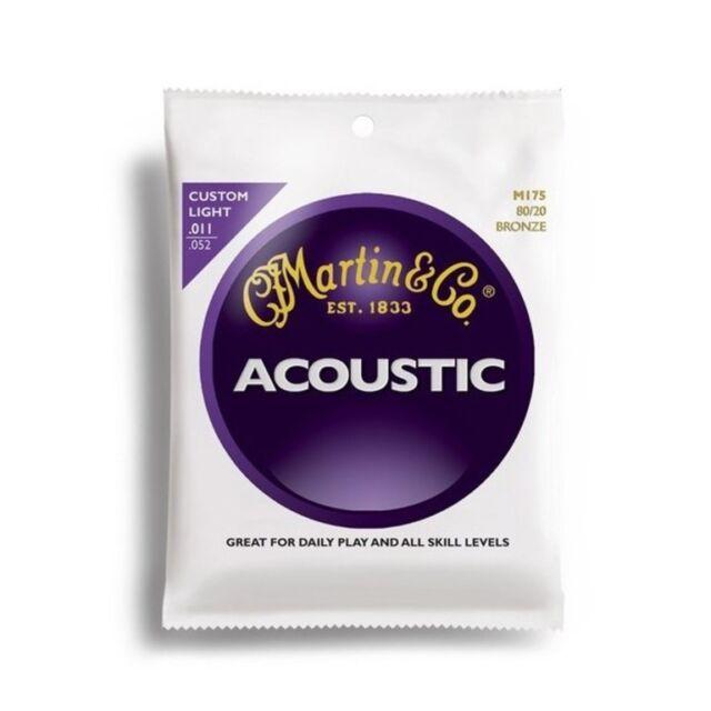Martin M175 80/20 Bronze Muta di corde per chitarra acustica Custom Light 011...