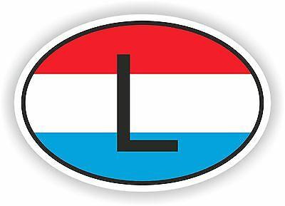 L LUXEMBOURG COUNTRY CODE OVAL WITH FLAG STICKER bumper decal car helmet