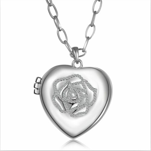New 18K White Gold GF Hollow Heart Locket Crystal Rose Pendant Necklace Stunning