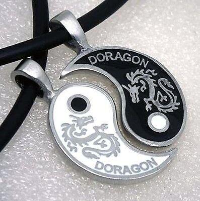 Original design Doragon Japanese GOD Dragon Split Yin Yang Silver Pewter Pendant