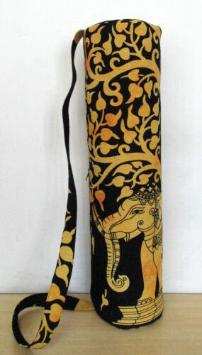 Indian Yellow Elephant Tree Gym Bags Yoga Mat Carrier Bag With Shoulder Strap 04