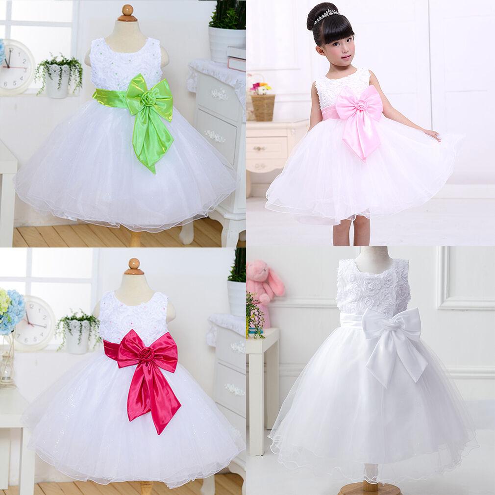 Kids Girl Party Bow Princess Dress Flower Wedding Bridesmaid Formal Show Dresses