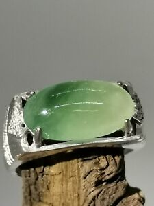 Icy Ice Green Burmese Jadeite Jade Ring/冰绿飘花天然缅甸翡翠马鞍戒指/ナチュラルビルマ翡翠リング