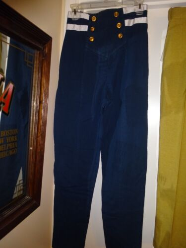Nice OK Clothing Company Blue with White Ribbon Trim Pants Size Medium Anchor Buttons hot sale