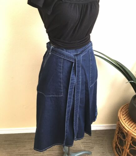 SWEET ORR 70s Denim Wrap Skirt Belted A-Line High