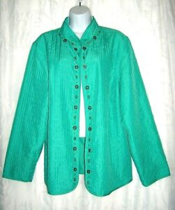Alfred-Dunner-Embellished-Aqua-Quilted-Stitched-Women-039-s-Jacket-16W-1X