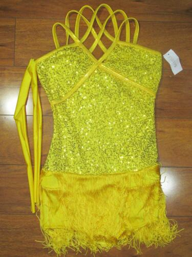 Details about  /Halloween Sequined Yellow Flurry Fringe Curtain Call Skating Costume ASM