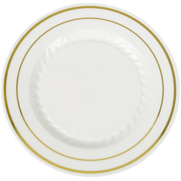 7  Desert Ivory Plates Premium Heavy Weight Plastic with Gold trim(1 case)