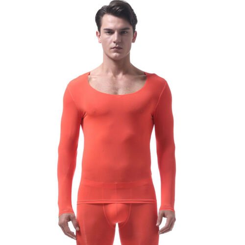 Men/'s Undershirt Ice Silk Smooth Sheer Tight T Shirts Thin Long Sleeves Tops