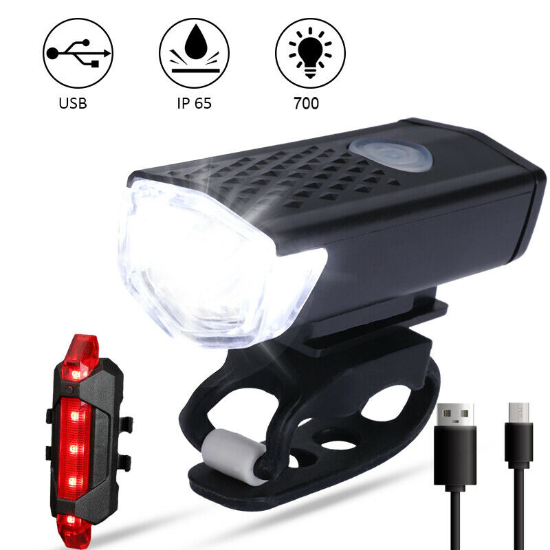 USB Rechargeable Bright LED Bicycle Bike Front Headlight Rear Tail Light Set BV
