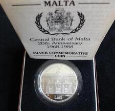 1988 SILVER PROOF MALTA LM 5 COIN BOX + COA 20th ANNIVERSARY BANK OF MALTA