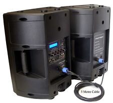 """New 2x10"""" 240W PA/DJ Powered/Passive Moulded Speakers With USB/SD Player,LCD Scn"""