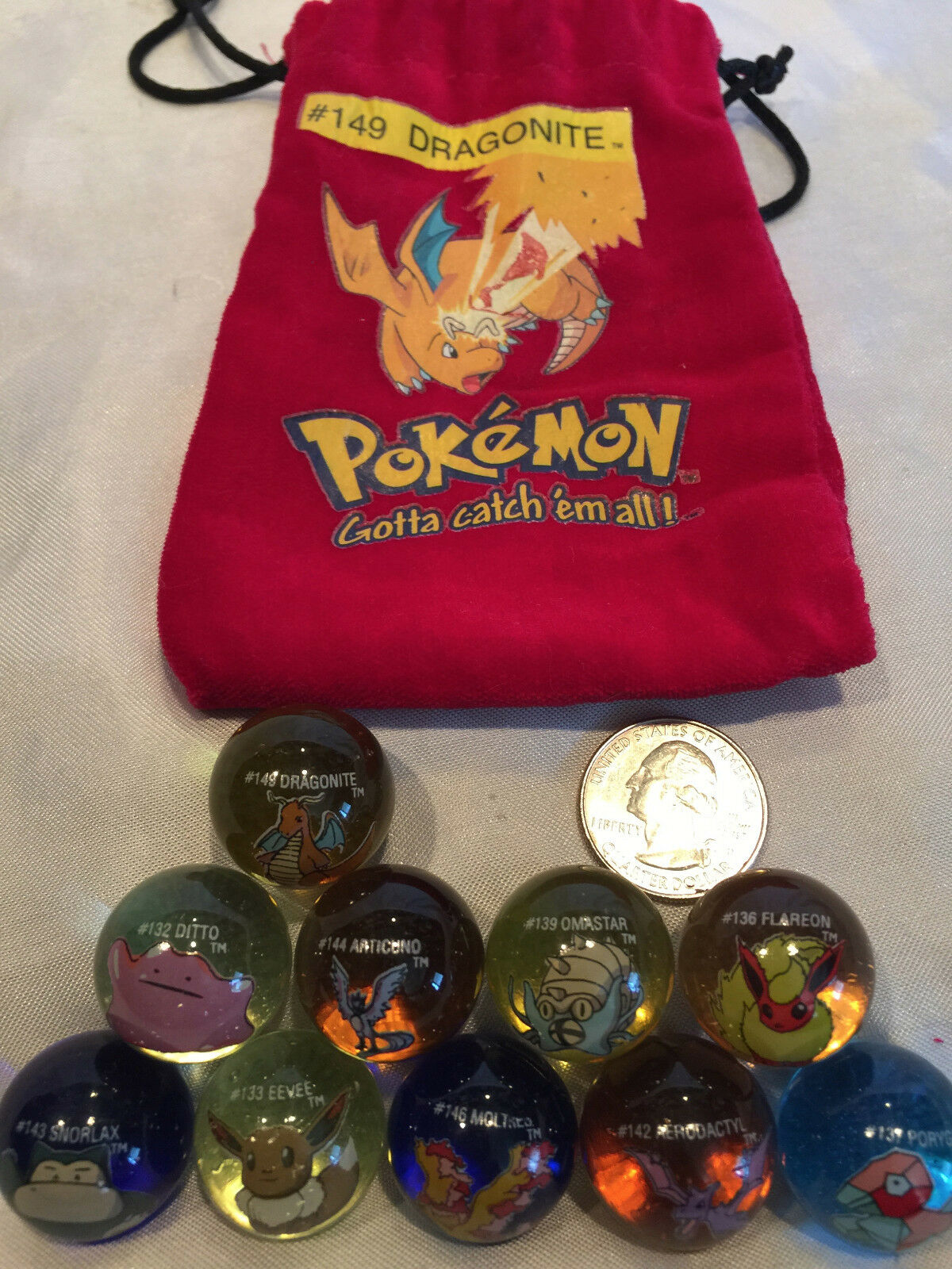 Mixed Lot Of 10 Collectible Vintage  Pokemon Glass Shooter Marbles Bag  149