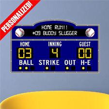 Personalized Scoreboard Baseball Wall Decal Sticker Removable Wall Art Sports