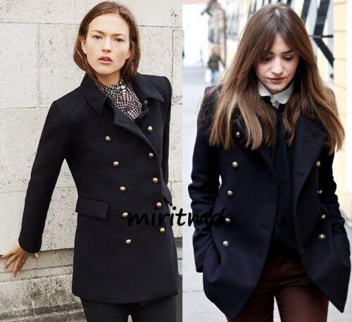 Militaire Laine Zara Or Veste M Noir Moyen Blazer Court Manteau Boutons 6xIXIwt