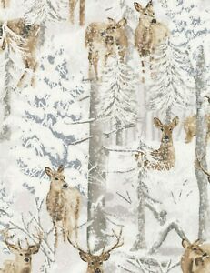 Deer-in-Snow-Forest-Winter-Flakes-Bare-Trees-Does-Hunting-BTY-Timeless-Treasures