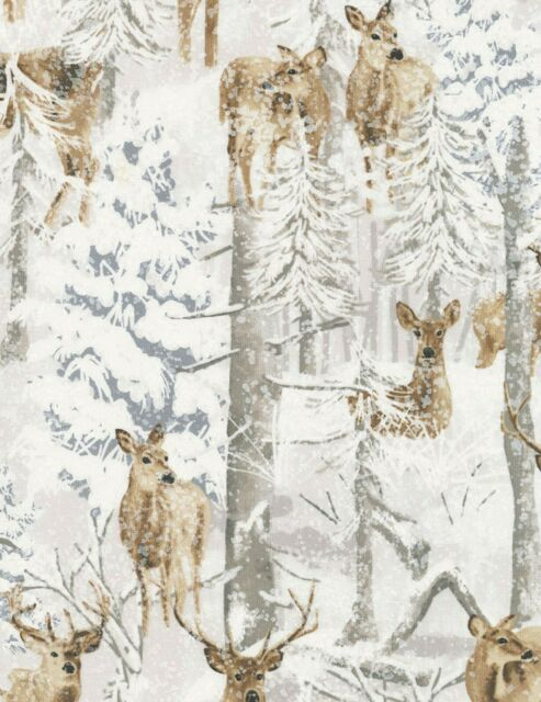 Deer in Snow-Forest-Winter-Flakes-Bare Trees-Fat 1/4-Hunting-Timeless Treasures