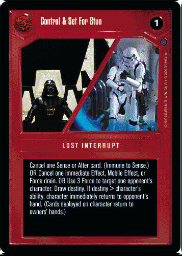 SWCCG Ref II Control /& Set For Stun NM Star Wars CCG Reflections 2