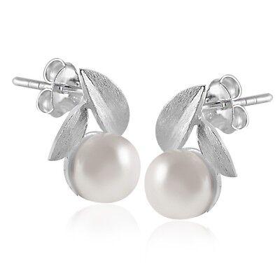 Damen Ohrringe Perle mit Box MATERIA 925 Silber Ohrstecker Perlen gebogen