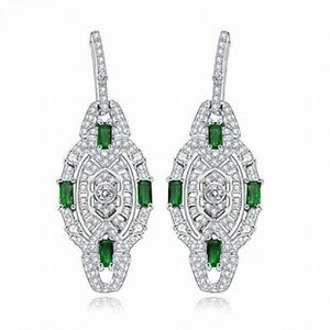 earrings-Nails-Candlestick-Art-Deco-Lacework-Gold-Plated-CZ-Green-G6-17