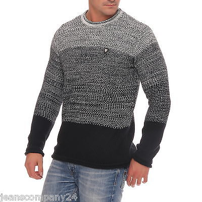 Carisma Herren Strickpullover Pulli Winterpulli Knit Jumper Black Grey CRSM Mode