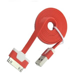 Cable Plano USB Color iPhone 4 Cargador Iphone 4 Anti Enredo Alambre Rojo  </span>