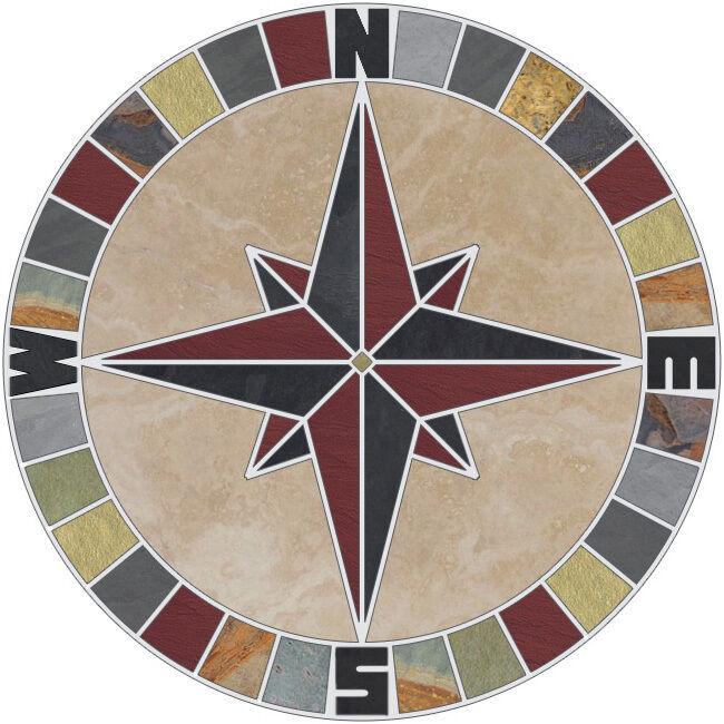 30  Tile Mosaic Medallion Natural Stone Mariners Compass pink Tragreenine & Slate