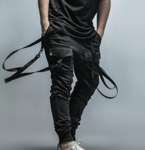 Mens Goth Suspender Pocket Harem Pants Hip Hop Cargo Trousers Sweatpants Black