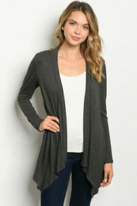 New-Ladies-Gray-Long-Sleeve-Shark-Bite-Hem-Open-Front-Western-Cardigan-S-M-L
