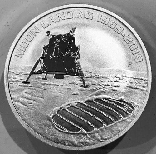 2019 P Australia 1 oz .999 Pure Silver Moon Landing BU Condition Coin IN CAPSULE