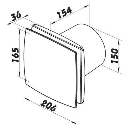 Badventilator Hauslüfter Kleinraumventilator design Lüfter Vents LDA Ø150mm 9308