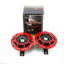 2 Pcs New Red Universal Grille Mount Super Tone Loud Electric Blast Compact Horn
