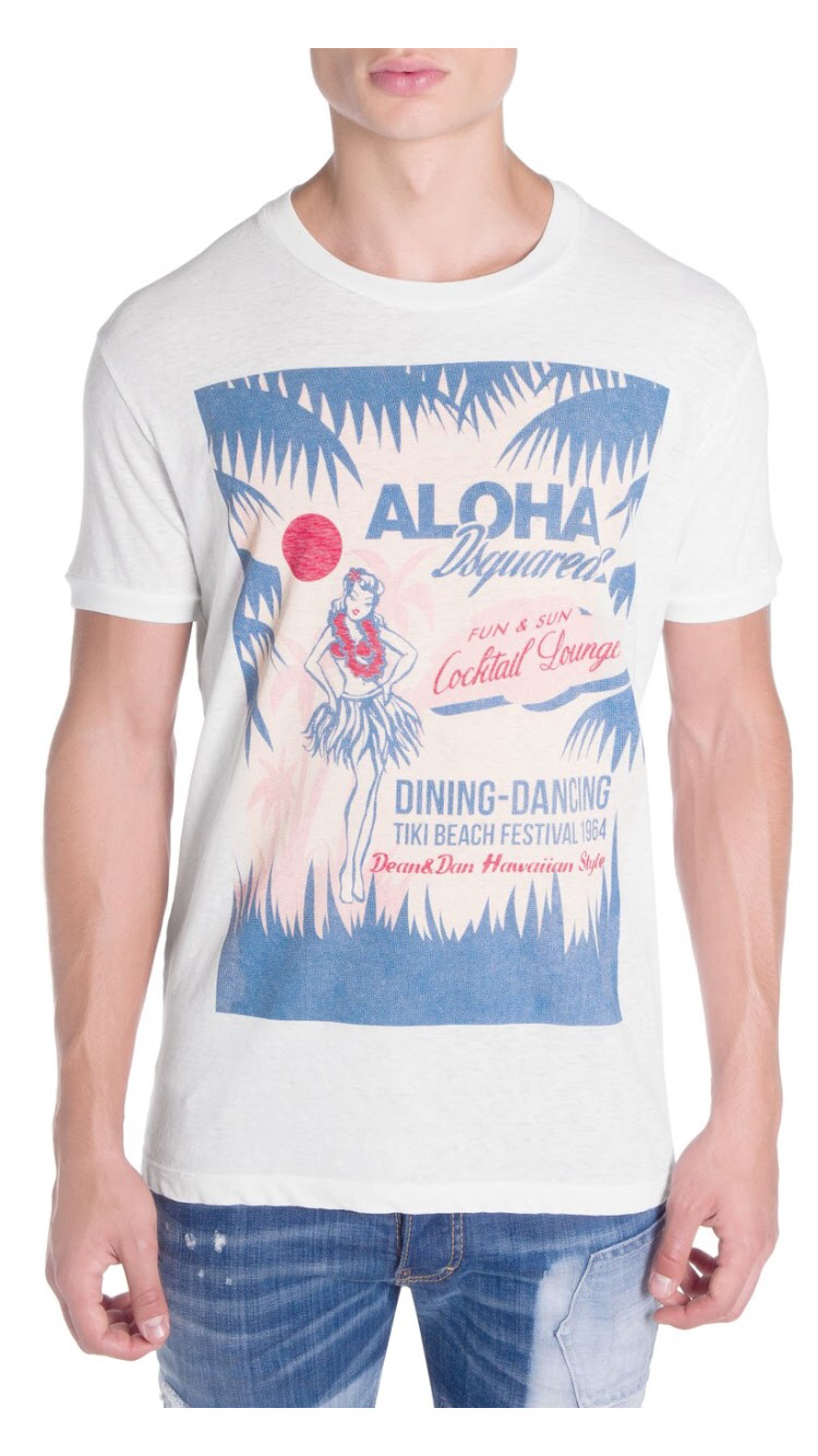260 DsquaROT2 Aloha Graphic Cotton Tee Shirt Weiß Large NWT