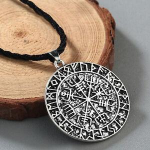 Wikinger-Kompass-Runen-Futhark-Anhaenger-Amulett-Talisman-Rune-Asatru-Halskette