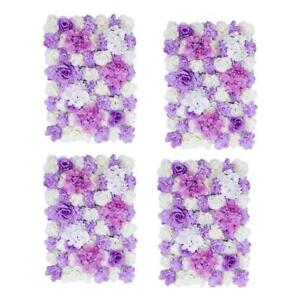 4pcs Handmade Artificial Flower Wall Panel Wedding Photo Props Purple