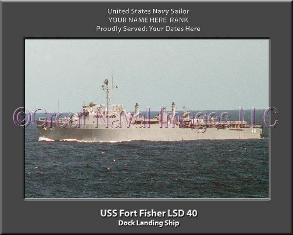 USS Fort Fisher LSD 40 Personalized Canvas Ship Photo Print Navy Veteran Gift